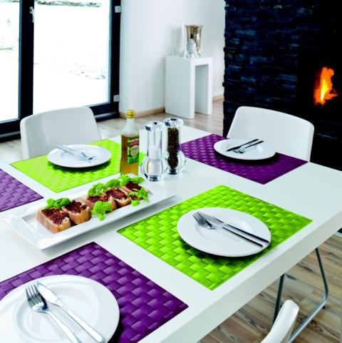 Tischsets Quadro Light Green 30/45