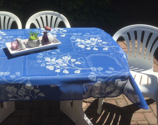 Gartentischdecke Miami 3D Druck Summer Heart Blue White 1,60/2,10 m