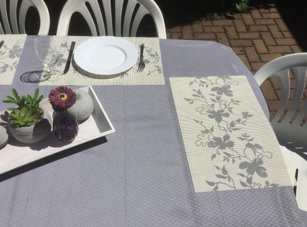 Tischsets Miami 3D Druck Flowers Grey White 30/45