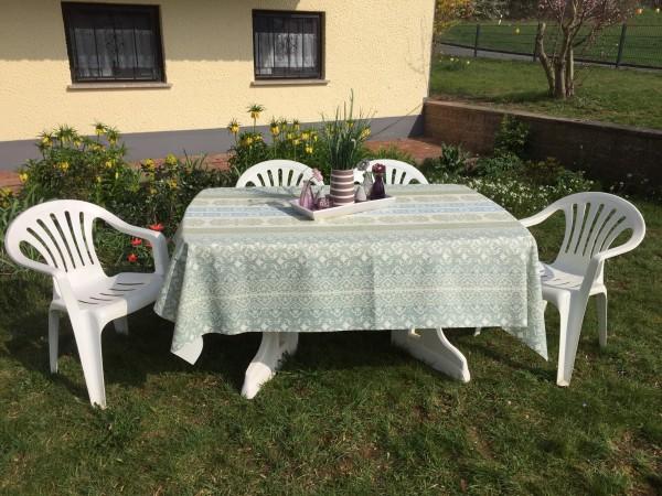 Friedola Gartentischdecke Classic Marrakech Green / Blue Oval 160/220 cm