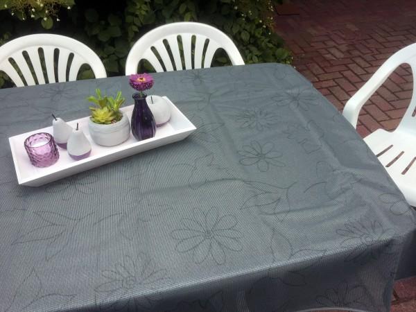 Gartentischdecke Miami Druck Modern Flower Grey 1,30/1,80 m