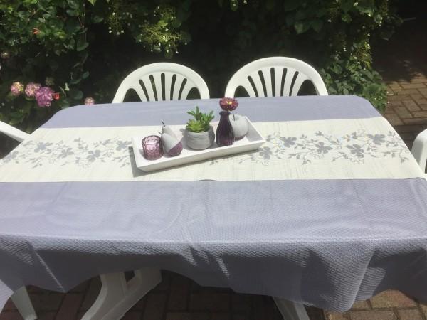 Tischläufer Miami 3D Druck Flowers Grey White 40/150