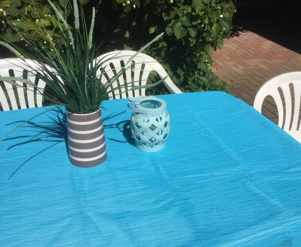 Gartentischdecke Miami Druck Stripes Turquoise / Türkis 1,30/1,80 m
