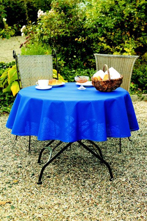 gartentischdecke milano mit rautenpr ge indigo quadratisch auf ma sylkes n hst bchen. Black Bedroom Furniture Sets. Home Design Ideas