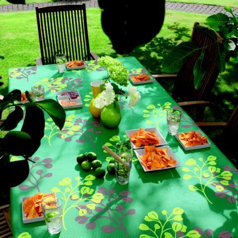Gartentischdecke Miami 3D Druck Summer Heart Turquoise Yellow 1,30/1,80 m